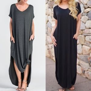 CHARLIZE solid boho dress - CHARCOAL/BLACK